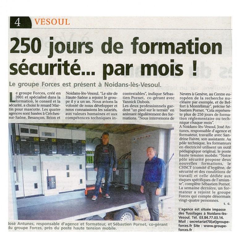 article de journal de Vesoul sur la formation sécurité