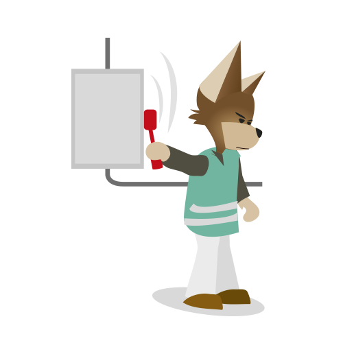 Mascotte Groupeforces coupe l'électricité