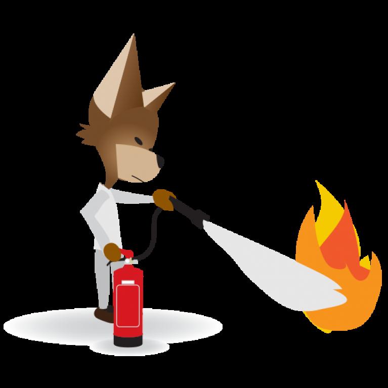 Martin avec extincteur pour formation incendie