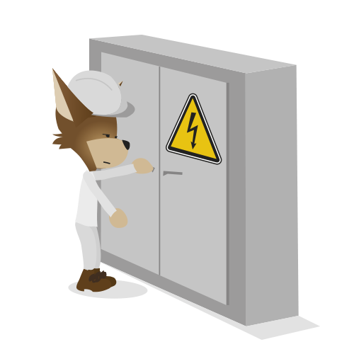 Mascotte Martin devant une armoire électrique