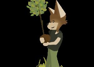 Mascotte Martin tiend un arbre