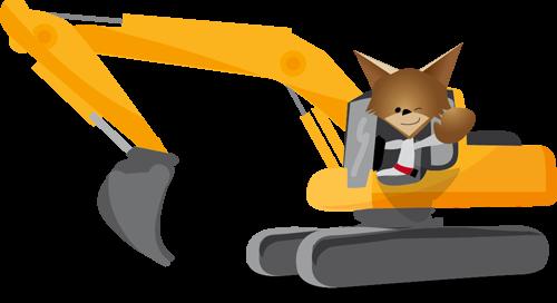 Mascotte Martin dans un engin de chantier