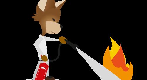 Martin éteint un incendie avec un extincteur